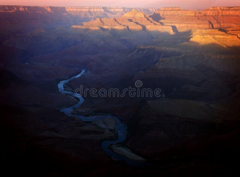 Salida del sol el río Colorado Grand Canyon foto de archivo libre de regalías