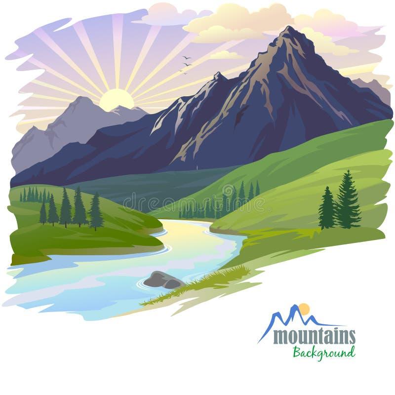 Salida del sol en alta montaña ilustración del vector