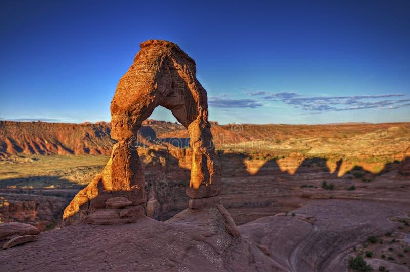 Salida del sol en el arco delicado - Moab, Utah imagen de archivo libre de regalías