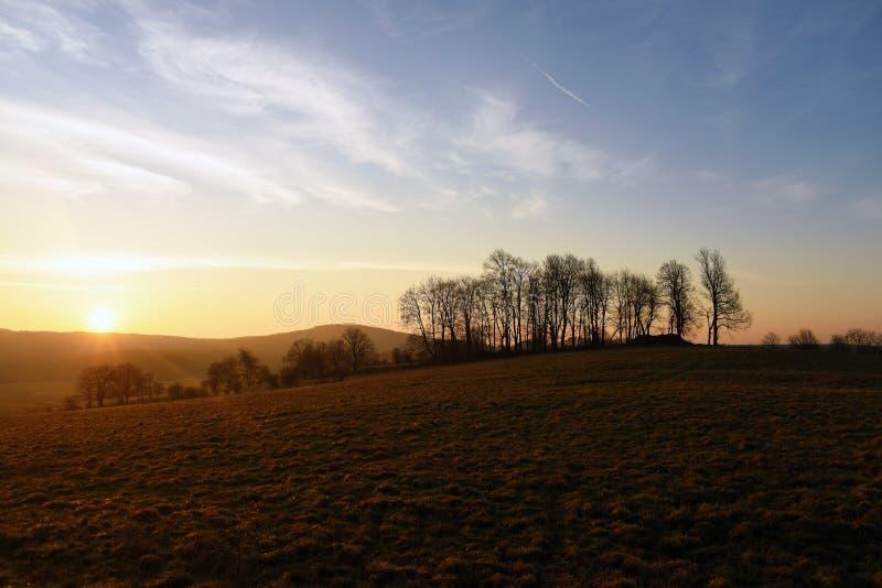 Salida del sol en el norte de Bohemia imagen de archivo libre de regalías