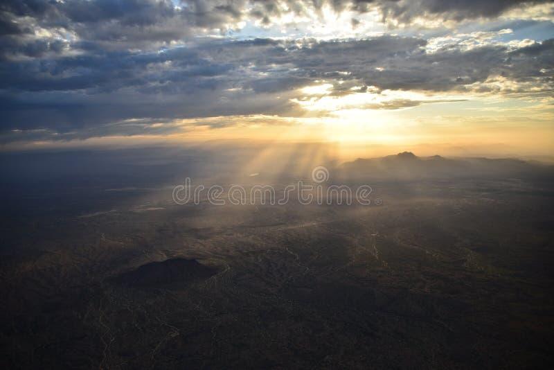 Salida del sol en el postre del este del Mesa fotografía de archivo libre de regalías