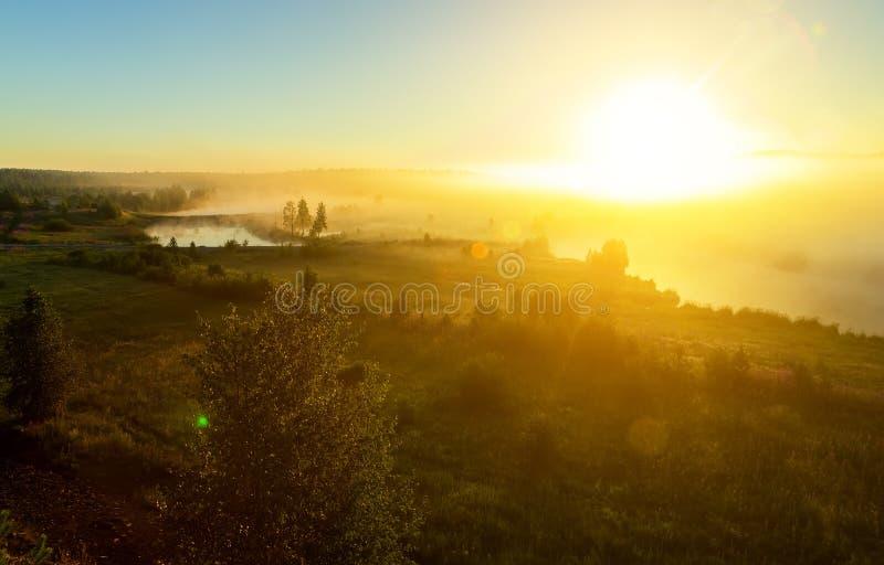 Salida del sol en el r?o con niebla Un torbellino del río para el amanecer Árboles en niebla en la orilla del río por mañana Los  foto de archivo libre de regalías