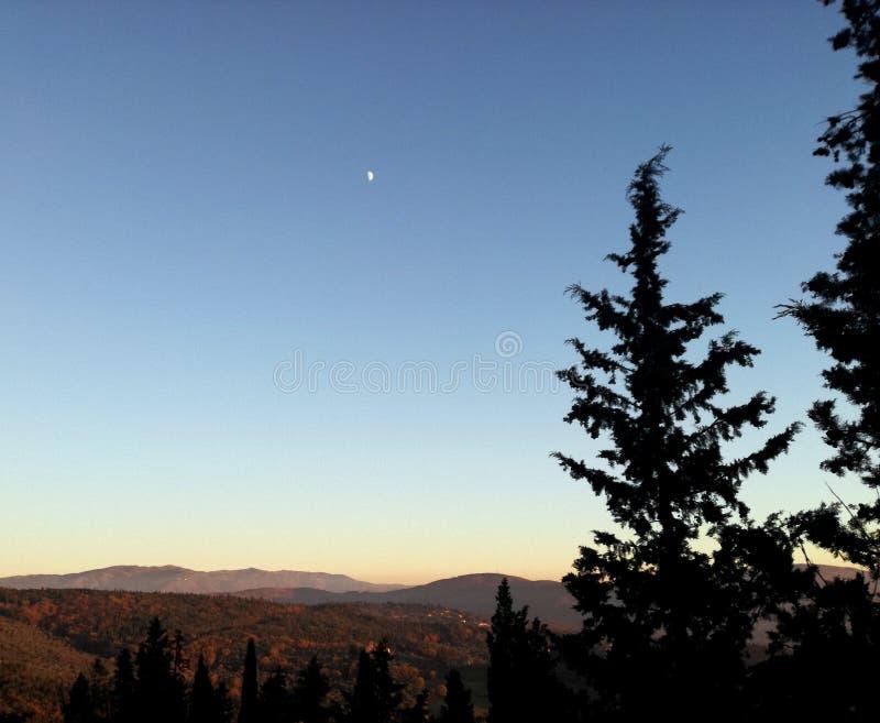 Salida del sol en Italia, Fiesole Paisaje a la Florencia imágenes de archivo libres de regalías