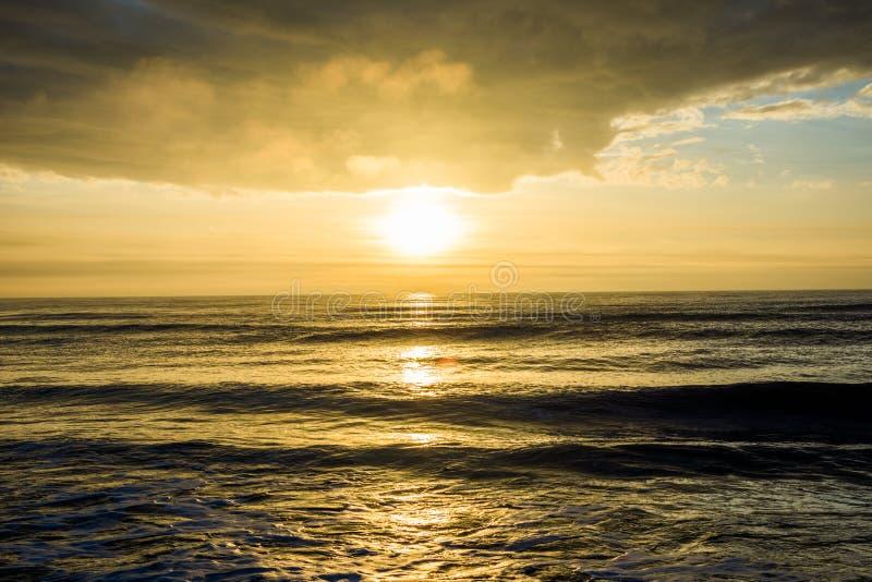 Salida del sol en la isla de la playa de las palmas, sobre el océano en Carolina del Sur imágenes de archivo libres de regalías