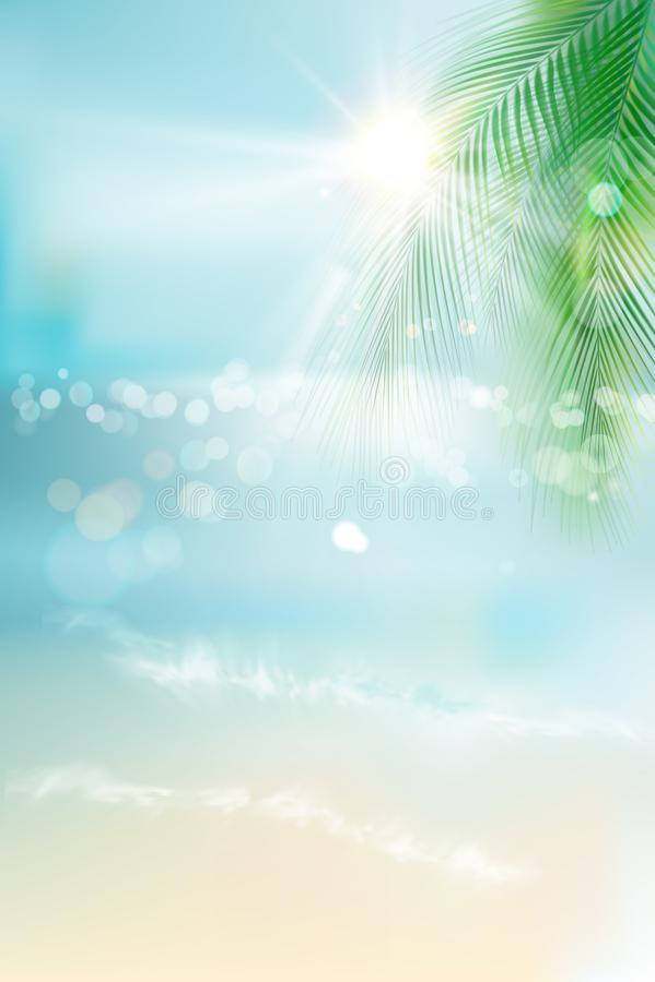 Salida del sol en la playa Vista de la playa soleada Ilustración del vector ilustración del vector