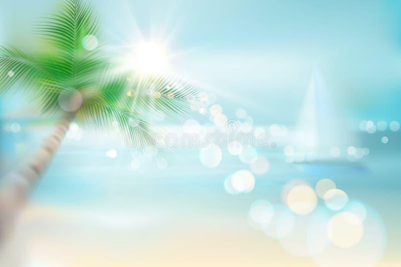 Salida del sol en la playa Vista de la playa tropical Ilustración del vector ilustración del vector