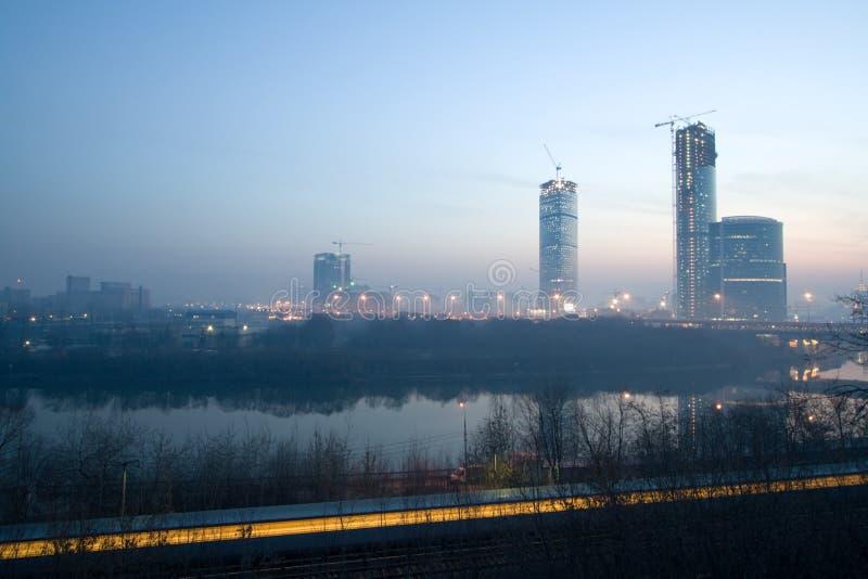 Salida del sol en Moscú fotos de archivo