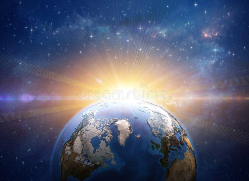 Salida del sol, explosi?n, impacto del meteorito en la tierra del planeta del espacio ilustración del vector