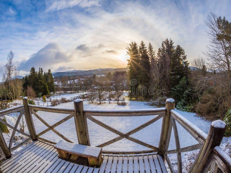 Salida del sol fantástica del invierno en Killin, montañas escocesas fotos de archivo libres de regalías