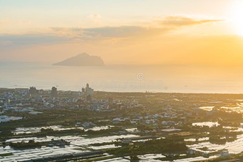 Salida del sol hermosa de la isla de Guishan fotos de archivo libres de regalías