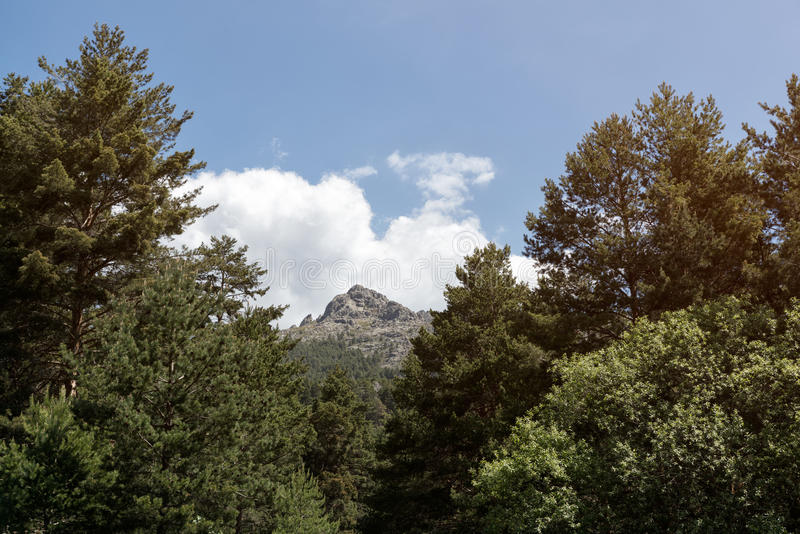 Salida del sol hermosa en la montaña foto de archivo libre de regalías