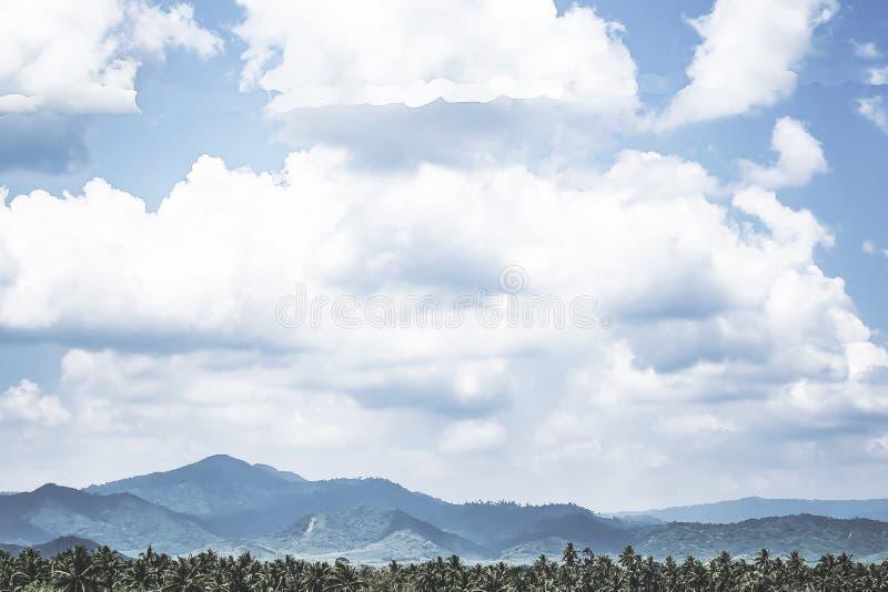 Salida del sol hermosa sobre la cordillera Escenario de la palmera del coco naturaleza tropical del bosque en el sur de Tailandia imagenes de archivo