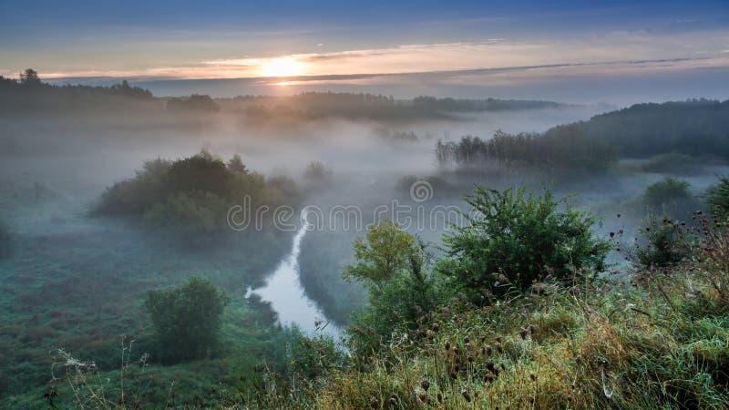 Salida del sol imponente en el valle de niebla en otoño fotos de archivo libres de regalías