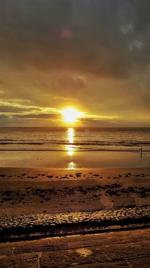 Salida del sol - Norderney fotografía de archivo