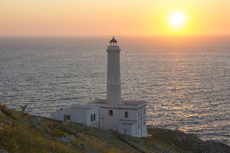 Salida del sol Otranto, faro Palascia foto de archivo libre de regalías