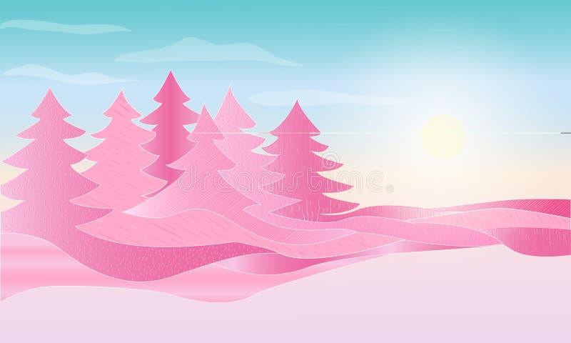 Salida del sol del paisaje del extracto de la fantasía en un bosque con los árboles abstractos rosados Ilustración del vector stock de ilustración