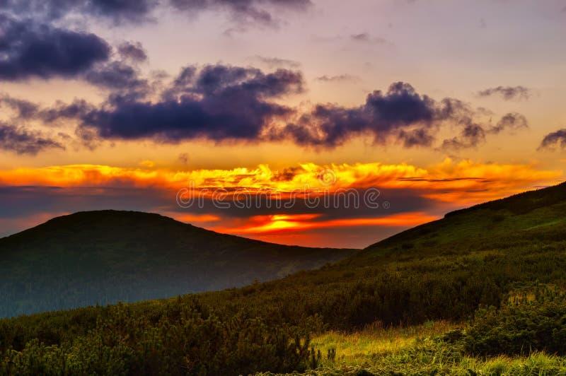 Salida del sol pintoresca, amanecer en montañas cárpatas, Ucrania de la mañana fotografía de archivo libre de regalías
