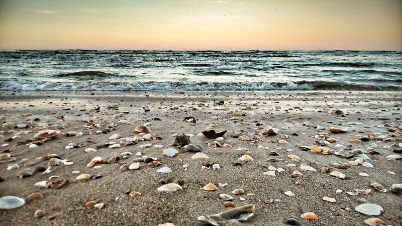 Salida del sol preciosa en la playa imagen de archivo libre de regalías