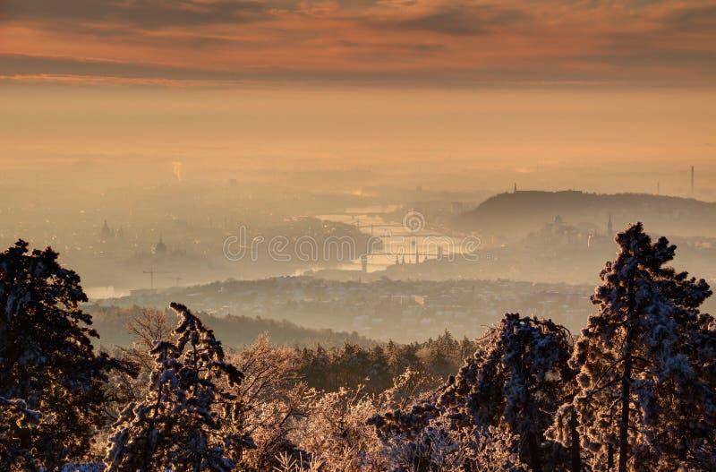 Salida del sol que brilla intensamente sobre Budapest y Danubio en niebla de la mañana del invierno foto de archivo