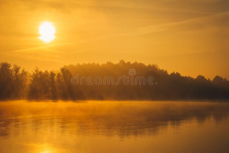 Salida del sol que sorprende sobre el lago en el verano fotografía de archivo libre de regalías