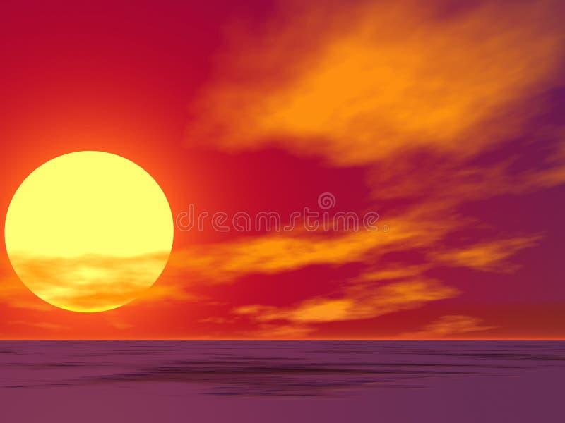 Salida del sol roja del desierto ilustración del vector