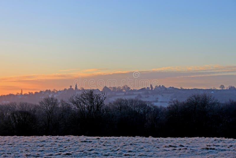 Salida del sol sobre Bradford foto de archivo