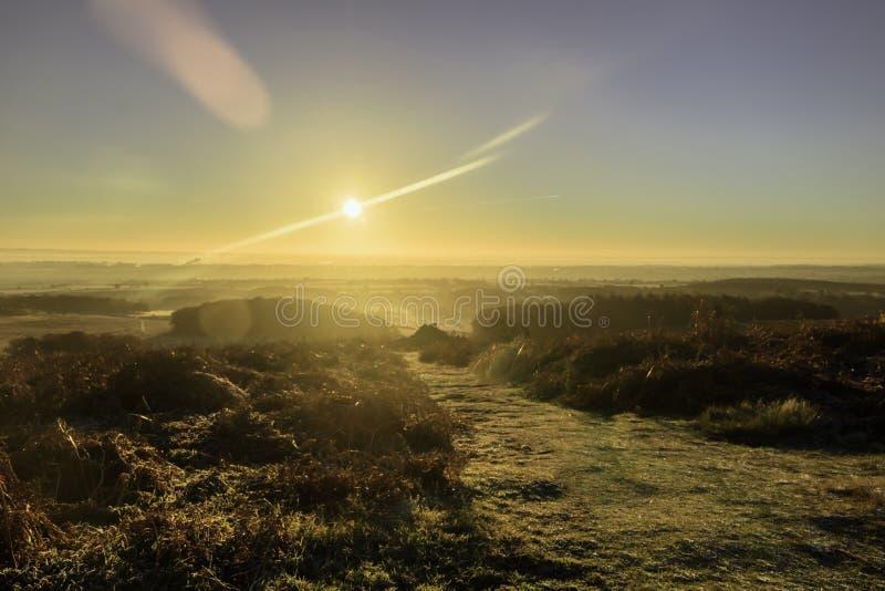 Salida del sol sobre Bradgate foto de archivo libre de regalías