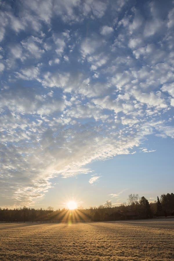 Salida del sol sobre el campo escarchado, cielo azul con las nubes foto de archivo