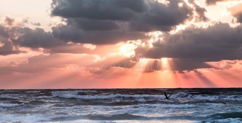 Salida del sol sobre el golfo de México imagenes de archivo