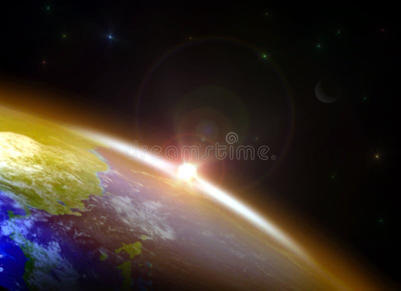 Salida del sol sobre el horizonte ilustración del vector