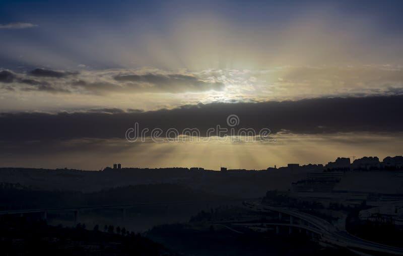 Salida del sol sobre Jerusalén fotografía de archivo