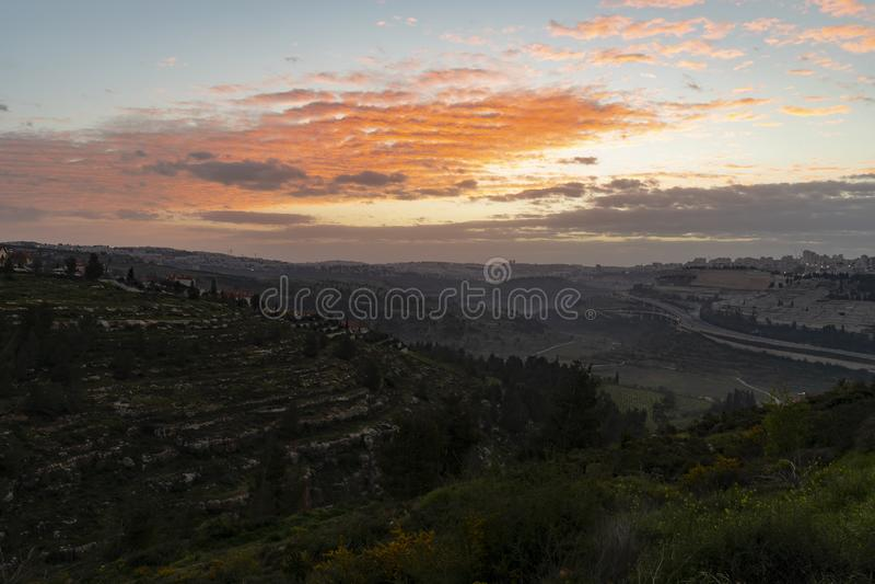 Salida del sol sobre Jerusalén foto de archivo libre de regalías