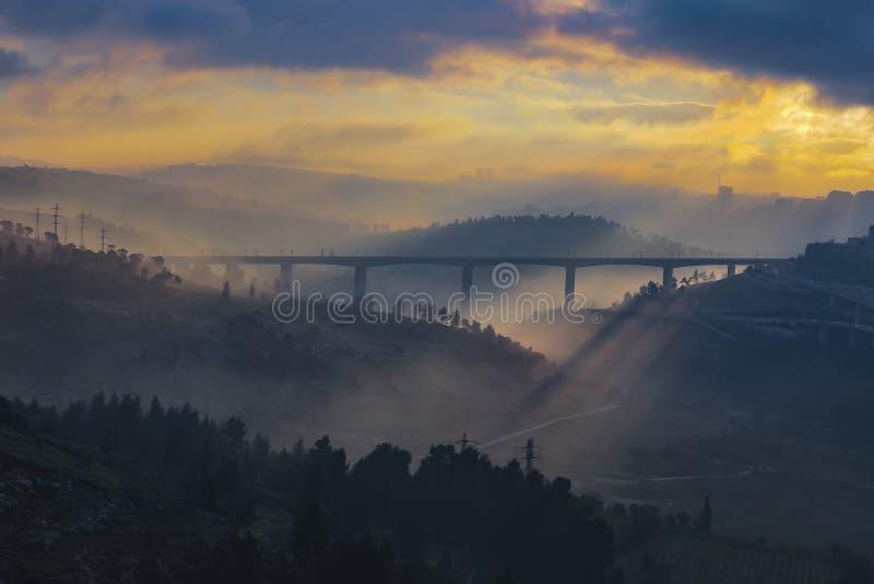 Salida del sol sobre Jerusalén imagen de archivo libre de regalías