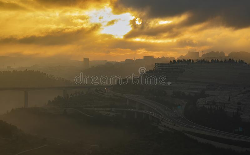 Salida del sol sobre Jerusal?n foto de archivo