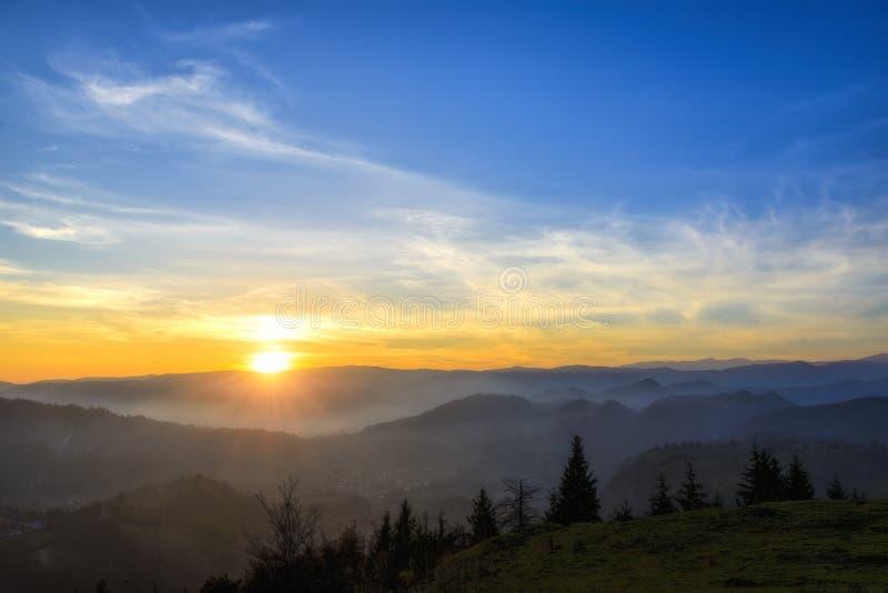 Salida del sol sobre la niebla del bosque negro imágenes de archivo libres de regalías