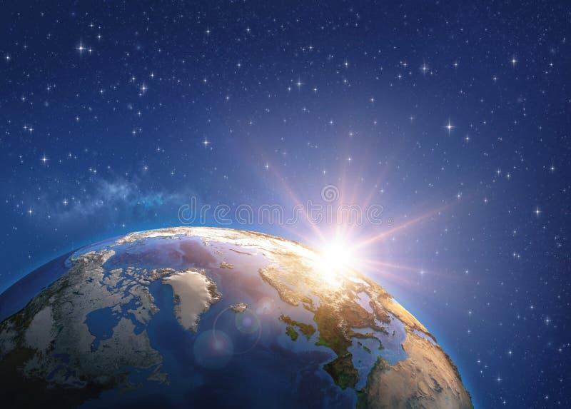 Salida del sol sobre la tierra del espacio ilustración del vector