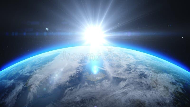 Salida del sol sobre la tierra según lo visto de espacio Con el fondo de las estrellas representación 3d stock de ilustración