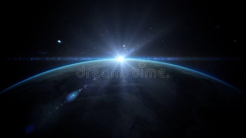 Salida del sol sobre la tierra según lo visto de espacio Con el fondo de las estrellas representación 3d foto de archivo libre de regalías