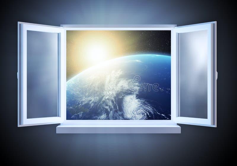 Salida del sol sobre la tierra vista de ilustración del vector