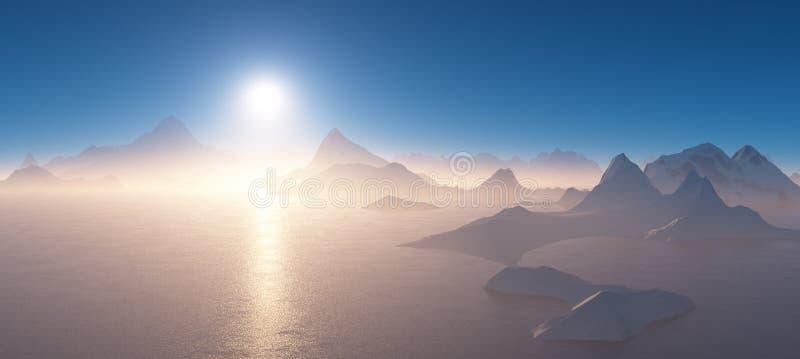 Salida del sol sobre las montañas rodeadas por el agua fotografía de archivo