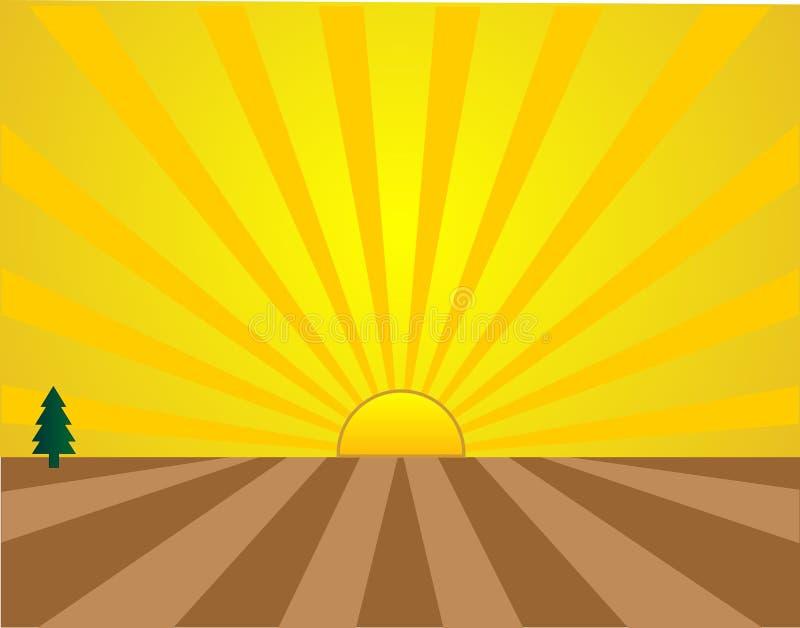 Salida del sol sobre los prados y los campos. ilustración del vector