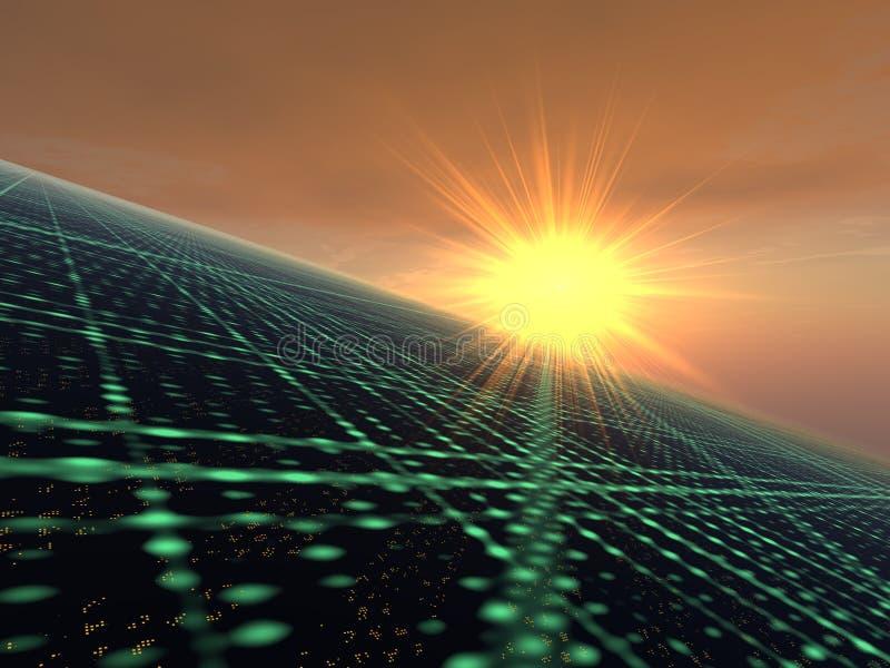 Salida del sol sobre red de la luz de la ciudad ilustración del vector