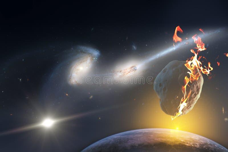 Salida del sol sobre un planeta condenado a la muerte a partir de la caída de un meteorito del espacio infinito del universo Elem fotos de archivo
