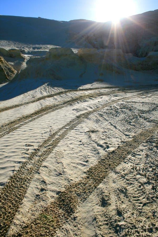 Salida del sol sobre vaciado de la mina imagen de archivo