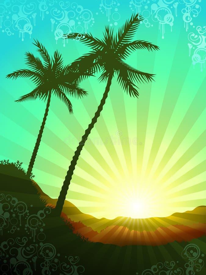 Salida del sol tropical hermosa ilustración del vector