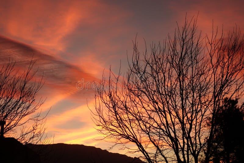 Salida del sol viva en New México foto de archivo