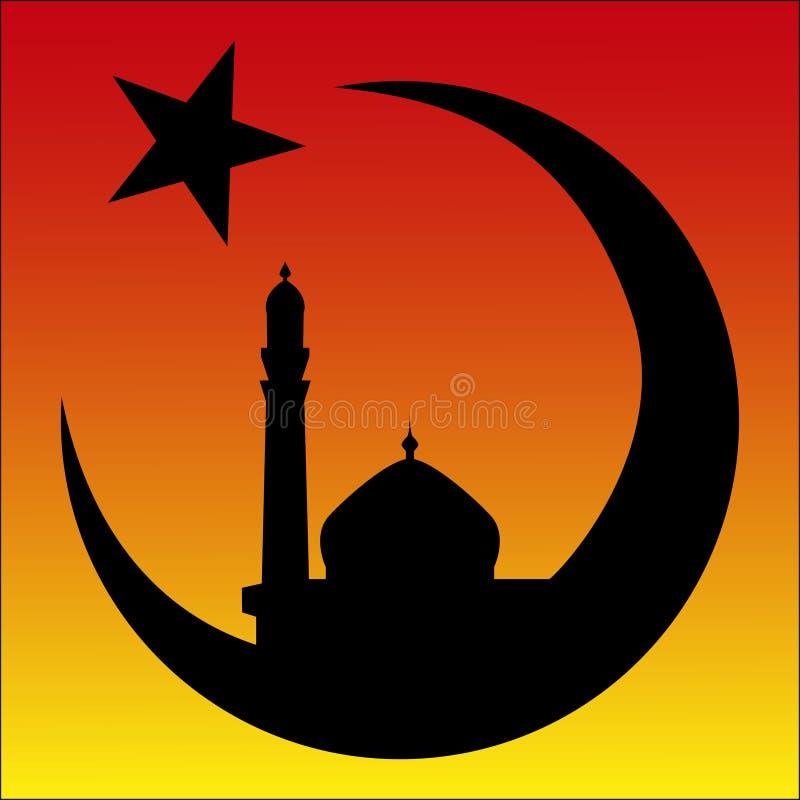Salida del sol y mezquita, símbolo del Arabesque del Islam stock de ilustración