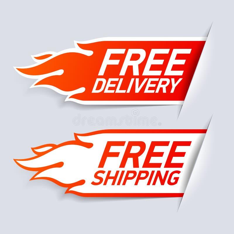 Salida libre y escrituras de la etiqueta de envío libres stock de ilustración