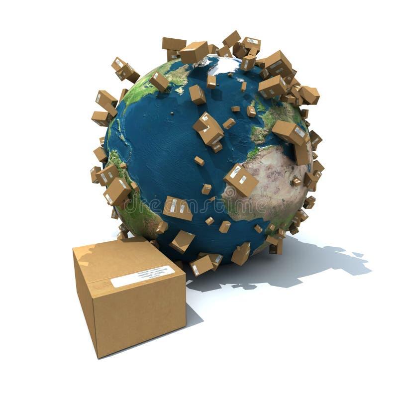 Salida mundial del paquete ilustración del vector