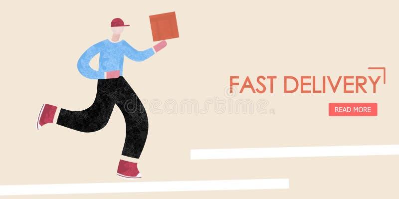 Salida rápida El repartidor corre con una caja en sus manos Conceptos para la página web y los usos stock de ilustración